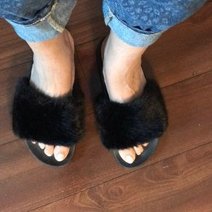 Other - Black fuzzy slippers